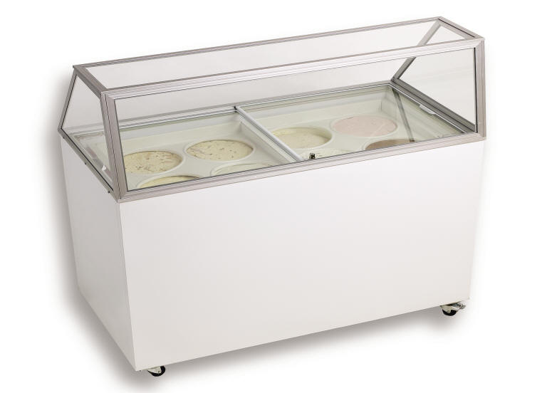 Used Euro -8 flat top, glass display cover, ice cream freezer. This unit was used in a grocery store and is in working condition, has some small dings and marks.