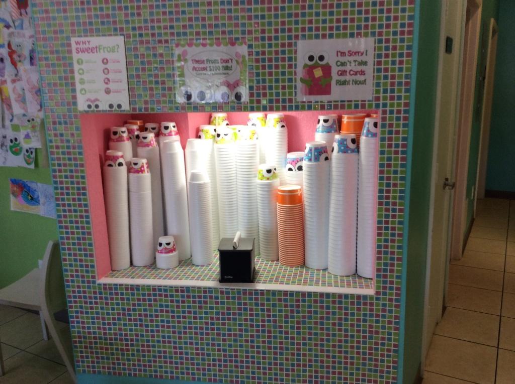 frozen yogurt cup dispensers